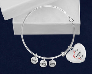 Live Laugh Love Pink Ribbon Retractable Charm Bracelets - Fundraising For A Cause