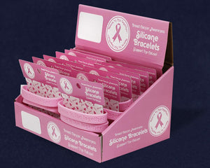 Breast Cancer Awareness Pink Ribbon Silicone Bracelet Counter Display (12 Cards) - Fundraising For A Cause