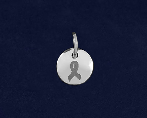 20 Gray Ribbon Circle Charms (20 Charms)