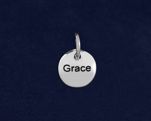 20 Silver Grace Circle Charms (20 Charms)
