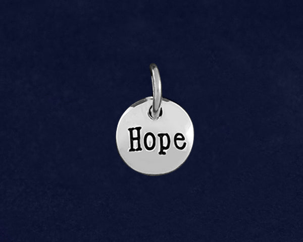25 Silver Hope Circle Charms (25 Charms)