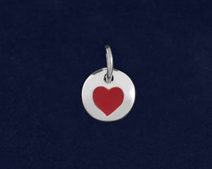 20 Red Heart Circle Charms (20 Charms)