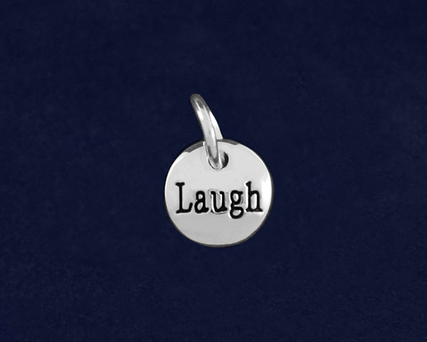20 Silver Laugh Circle Charms (20 Charms)