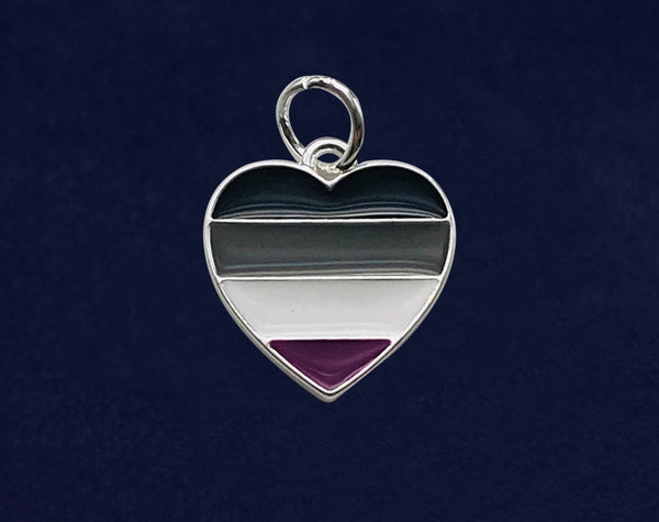 25 Asexual LGBTQ Pride Heart Charms (25 Pride Charms)