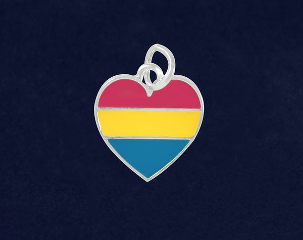 25 Pansexual LGBTQ Pride Heart Charms (25 Pride Charms)