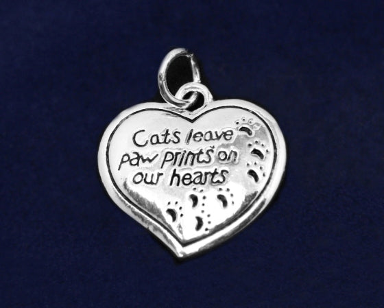 25 Cats Leave Paw Prints Heart Charms (25 Charms)