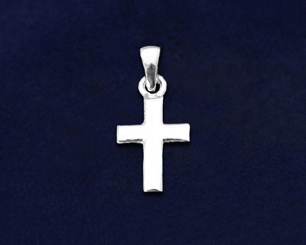 25 Small Silver Cross Charms (25 Charms)