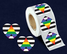 Load image into Gallery viewer, 500 Straight Ally Allies LGBTQ Gay Pride Heart Stickers (500 Stickers)