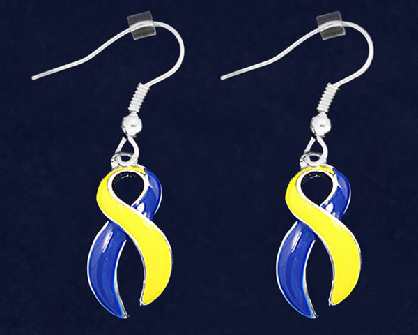 12 Pairs Blue & Yellow Ribbon Hanging Earrings (12 Pairs)
