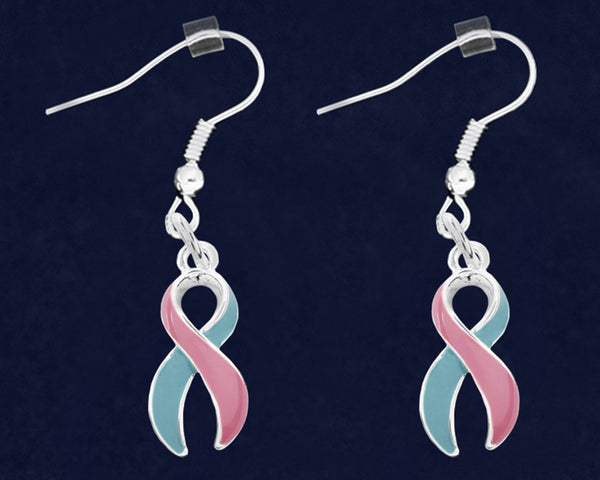 12 Pairs Large Pink & Blue Ribbon Hanging Earrings (12 Pairs)