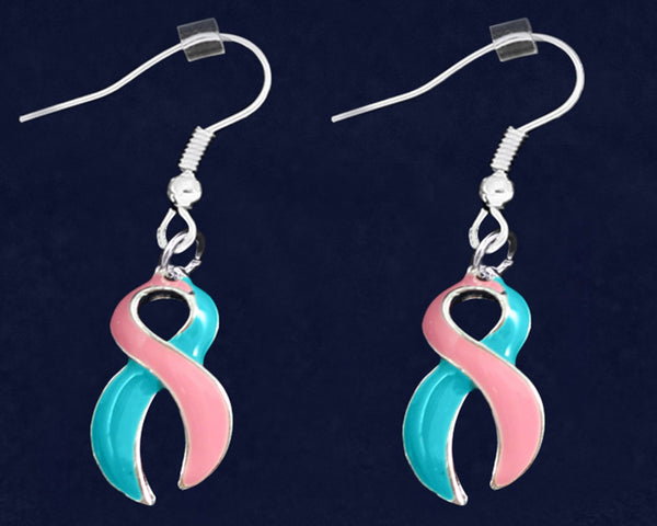 12 Pairs Large Pink and Teal Ribbon Hanging Earrings (12 Pairs)