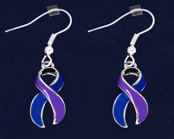 12 Pairs Large Blue and Purple Ribbon Hanging Earrings (12 Pairs) - fundraisingforacausecom