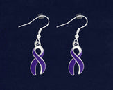 12 Pairs Large Purple Ribbon Awareness Hanging Earrings (12 Pairs)