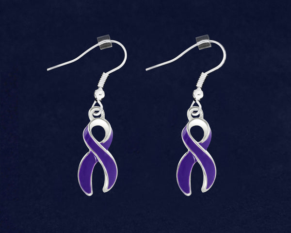 12 Pairs Large Domestic Violence Ribbon Awareness Hanging Earrings (12 Pairs)