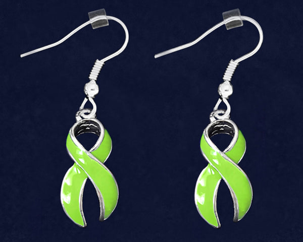 12 Pairs Lime Green Awareness Ribbon Hanging Earrings (12 Pairs)