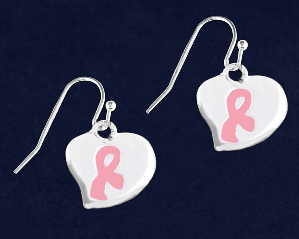 12 Hanging Puffed Heart Pink Ribbon Earrings (12 Pairs)