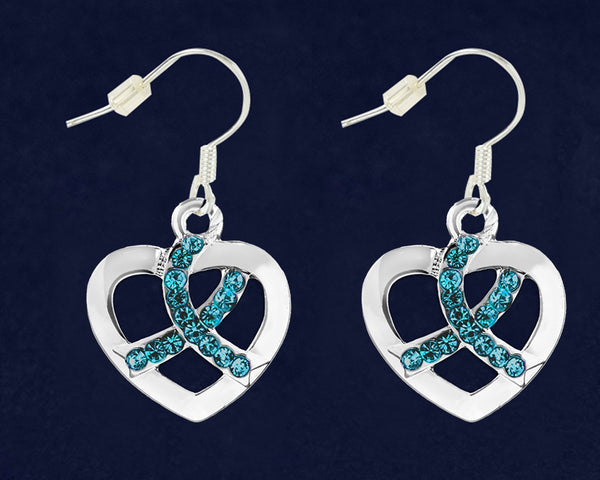 12 Pairs Teal Ribbon Crystal Heart Hanging Earrings (12 Pairs)