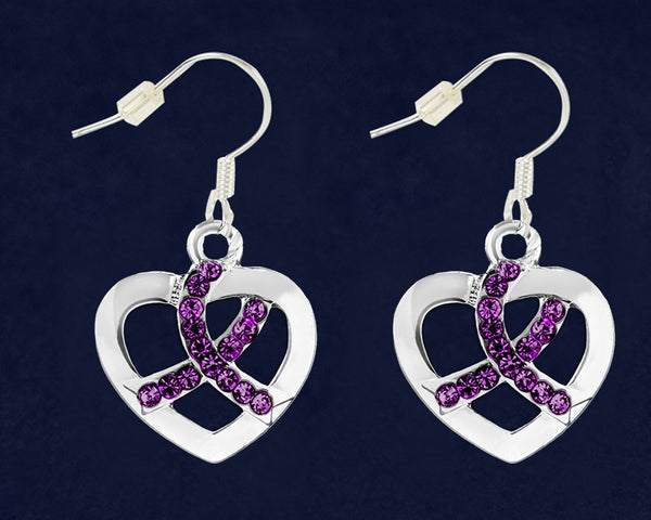 12 Pairs Purple Ribbon Crystal Heart Hanging Earrings (12 Pairs)