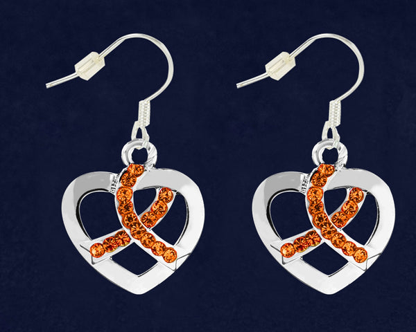 12 Pairs Orange Ribbon Crystal Heart Hanging Earrings (12 Pairs)