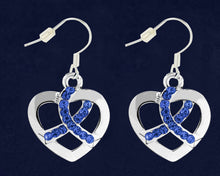 Load image into Gallery viewer, Dark Blue Ribbon Crystal Heart Hanging Earrings- Fundraising For A Cause