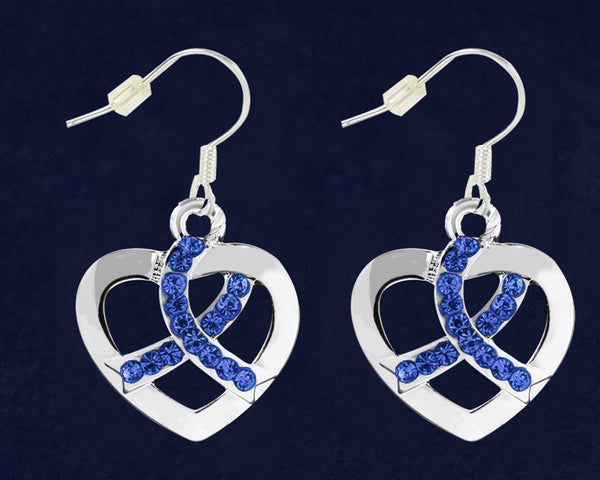 12 Pairs Colon Cancer Awareness Crystal Heart Hanging Earrings (12 Pairs)
