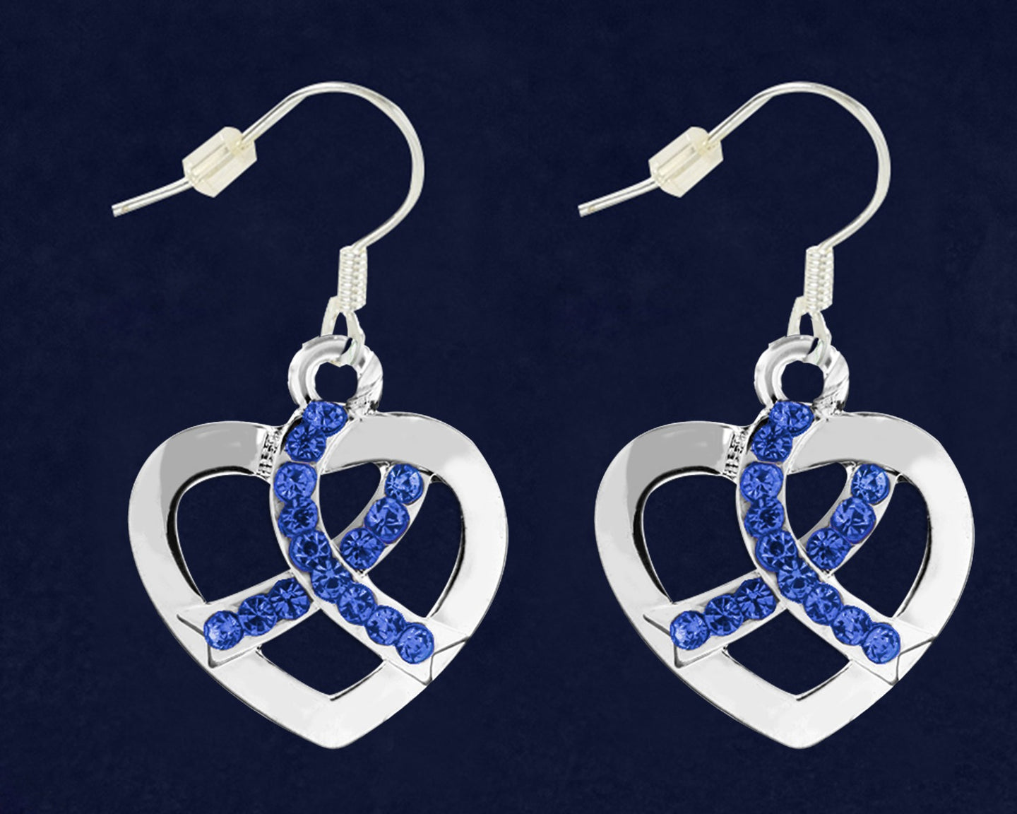 Dark Blue Ribbon Crystal Heart Hanging Earrings- Fundraising For A Cause