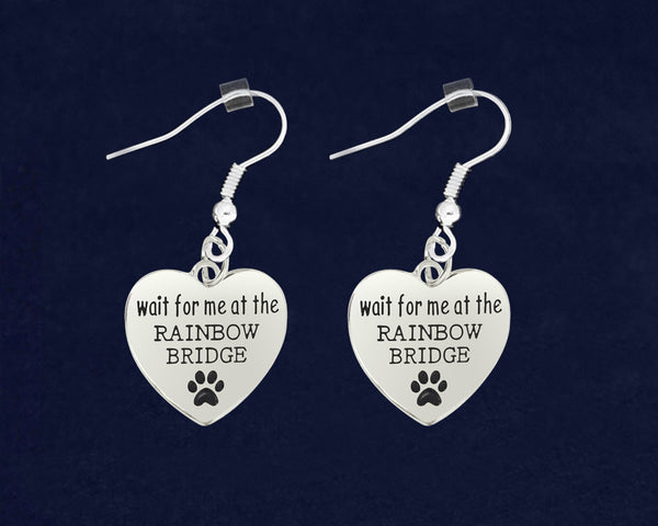 12 Wait For Me At The Rainbow Bridge Heart Earrings (12 Pairs)