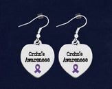 12 Crohn's Disease Awareness Heart Earrings