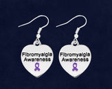 12 Fibromyalgia Awareness Heart Earrings (12 Pairs)