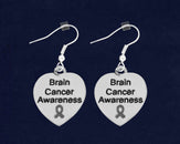 12 Brain Cancer Awareness Heart Earrings (12 Pairs)