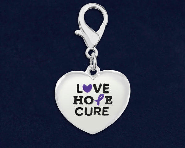25 Love Hope Cure Purple Ribbon Hanging Charms (25 Charms) - fundraisingforacausecom
