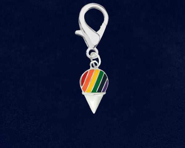 25 Rainbow Ice Cream Cone Gay Pride Hanging Charms (25 Pride Charms)