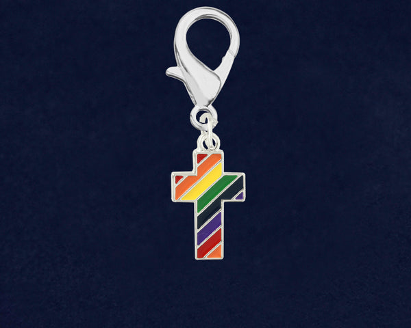 25 Rainbow Cross Gay Pride Hanging Charms (25 Pride Charms)