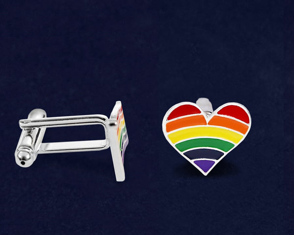 12 Pairs Gay Pride Rainbow Heart Cufflinks (12 Cufflinks)