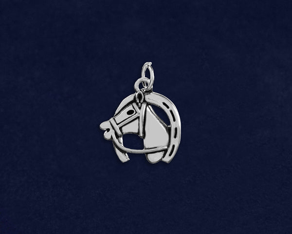 25 Horse Head In A Horseshoe Charms (25 Charms)