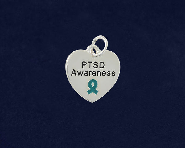 25 PTSD Awareness Heart Charms (25 Charms)