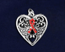 Load image into Gallery viewer, Decorative Heart Red Ribbon Charms, Awareness Jewelry - Fundraising For A Cause
