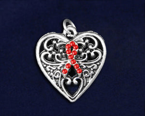 Decorative Heart Red Ribbon Charms, Awareness Jewelry - Fundraising For A Cause
