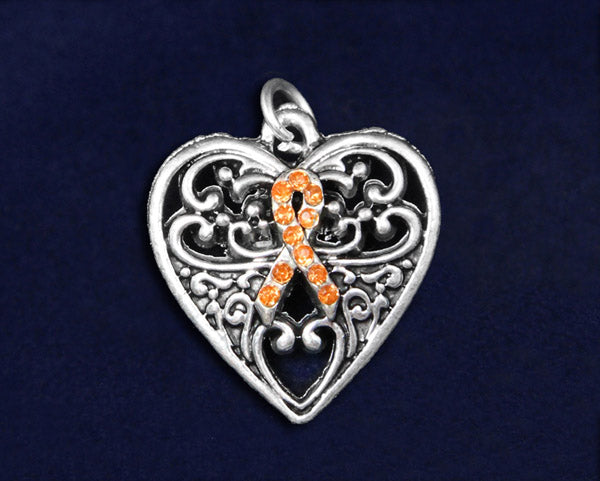 25 Decorative Heart Orange Ribbon Charms (25 Charms)