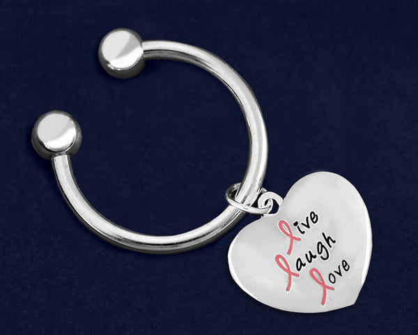24 Live Laugh Love Pink Ribbon Keychains (24 Keychains)