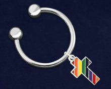 Load image into Gallery viewer, Rainbow Cross Gay Pride Key Chains