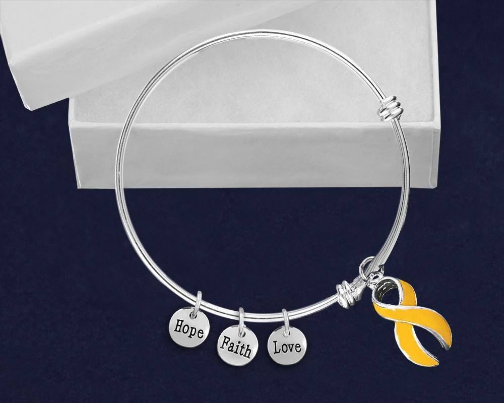 Large Gold Ribbon Awareness Retractable Bracelet - Fundraising For A Cause