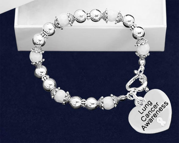 Lung Cancer Awareness Beaded Bracelet - Fundraising For A Cause