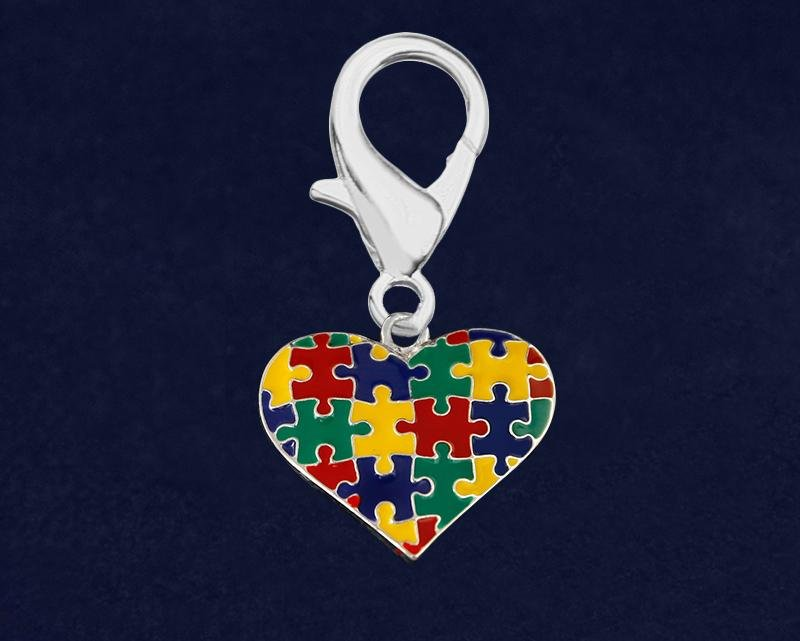 Multicolored Puzzle Piece Heart Hanging Charms - Fundraising For A Cause
