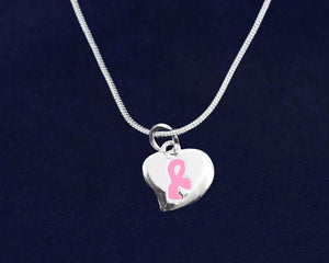 Puffed Heart Pink Ribbon Necklaces - Fundraising For A Cause