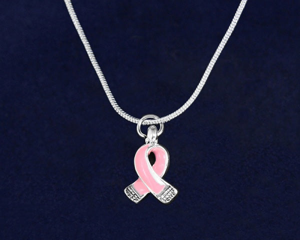 12 Small Pink Ribbon Necklaces (12 Necklaces)