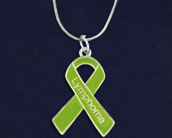 12 Lymphoma Lime Green Ribbon Necklaces (12 Necklaces)