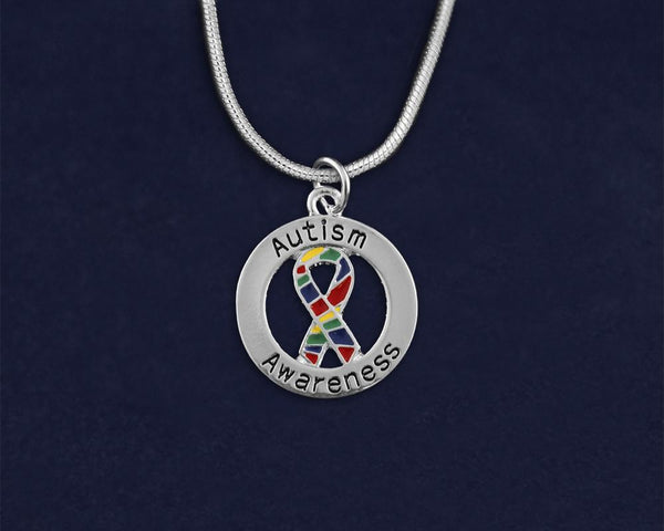 12 Round Autism Awareness Ribbon Necklaces (12 Autism Necklaces)