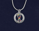 Pack of 12 Round Autism Awareness Ribbon Necklaces (12 Autism Necklaces)