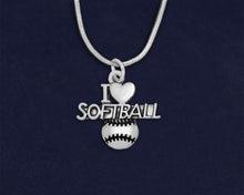 Load image into Gallery viewer, 12 I Love Softball Necklaces (12 Necklaces)